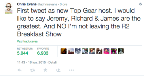 Postare Tweet Chris Evans Top Gear